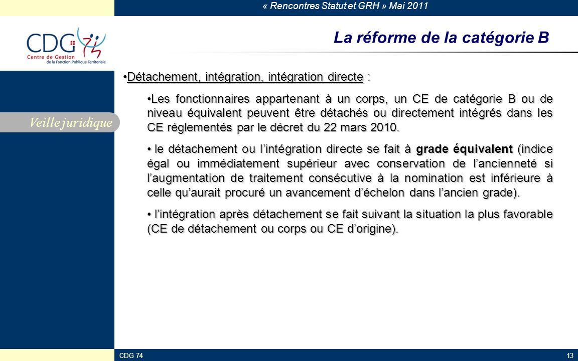 « Rencontres Statut et GRH » Mai 2011 CDG 7413 La réforme de la catégorie B Veille juridique Détachement, intégration, intégration directe :Détachement, intégration, intégration directe : Les fonctionnaires appartenant à un corps, un CE de catégorie B ou de niveau équivalent peuvent être détachés ou directement intégrés dans les CE réglementés par le décret du 22 mars 2010.Les fonctionnaires appartenant à un corps, un CE de catégorie B ou de niveau équivalent peuvent être détachés ou directement intégrés dans les CE réglementés par le décret du 22 mars 2010.