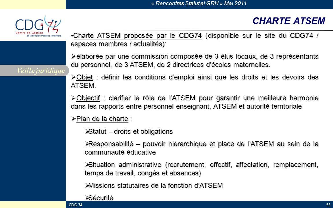 « Rencontres Statut et GRH » Mai 2011 CDG 7453 CHARTE ATSEM Veille juridique Charte ATSEM proposée par le CDG74 (disponible sur le site du CDG74 / espaces membres / actualités):Charte ATSEM proposée par le CDG74 (disponible sur le site du CDG74 / espaces membres / actualités): élaborée par une commission composée de 3 élus locaux, de 3 représentants du personnel, de 3 ATSEM, de 2 directrices décoles maternelles.