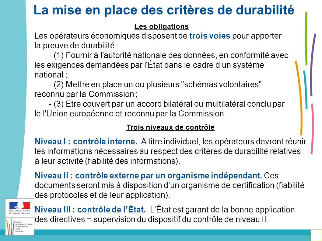 Les obligations Les opérateurs économiques disposent de trois voies pour apporter la preuve de durabilité : - (1) Fournir à l autorité nationale des données, en conformité avec les exigences demandées par l État dans le cadre dun système national ; - (2) Mettre en place un ou plusieurs schémas volontaires reconnu par la Commission ; - (3) Etre couvert par un accord bilatéral ou multilatéral conclu par le l Union européenne et reconnu par la Commission.