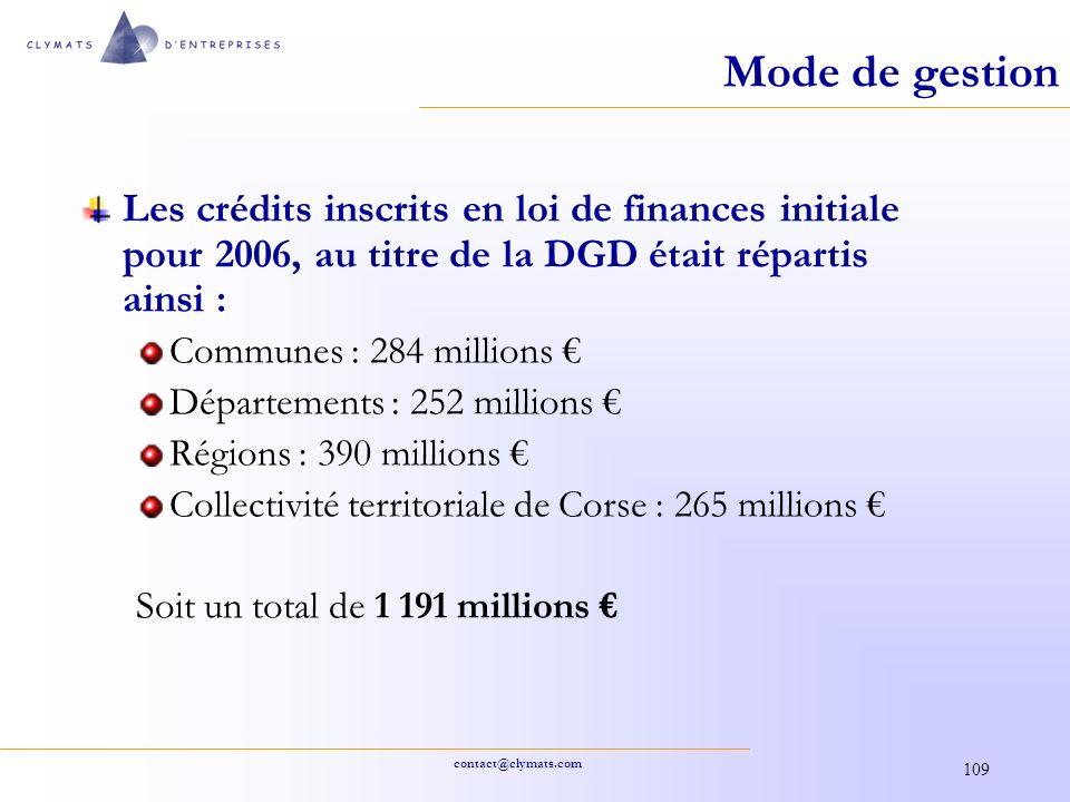 contact@clymats.com 109 Mode de gestion Les crédits inscrits en loi de finances initiale pour 2006, au titre de la DGD était répartis ainsi : Communes