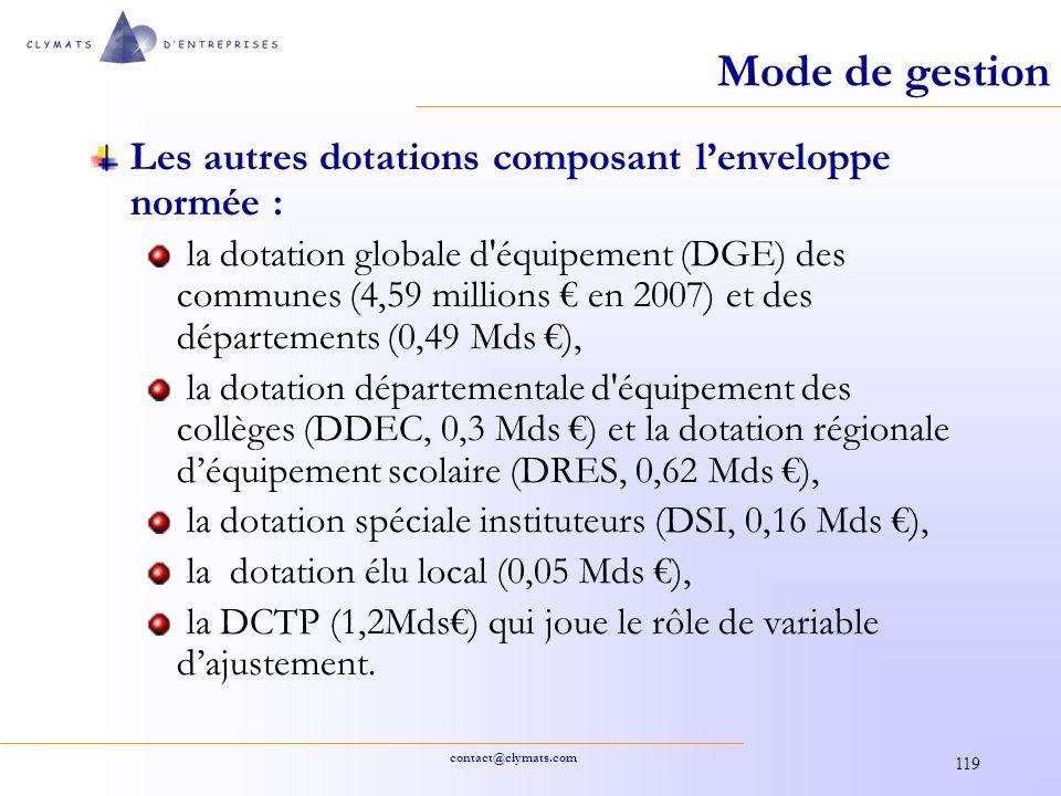 contact@clymats.com 119 Mode de gestion Les autres dotations composant lenveloppe normée : la dotation globale d'équipement (DGE) des communes (4,59 m