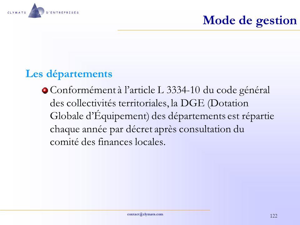 contact@clymats.com 122 Mode de gestion Les départements Conformément à larticle L 3334-10 du code général des collectivités territoriales, la DGE (Do