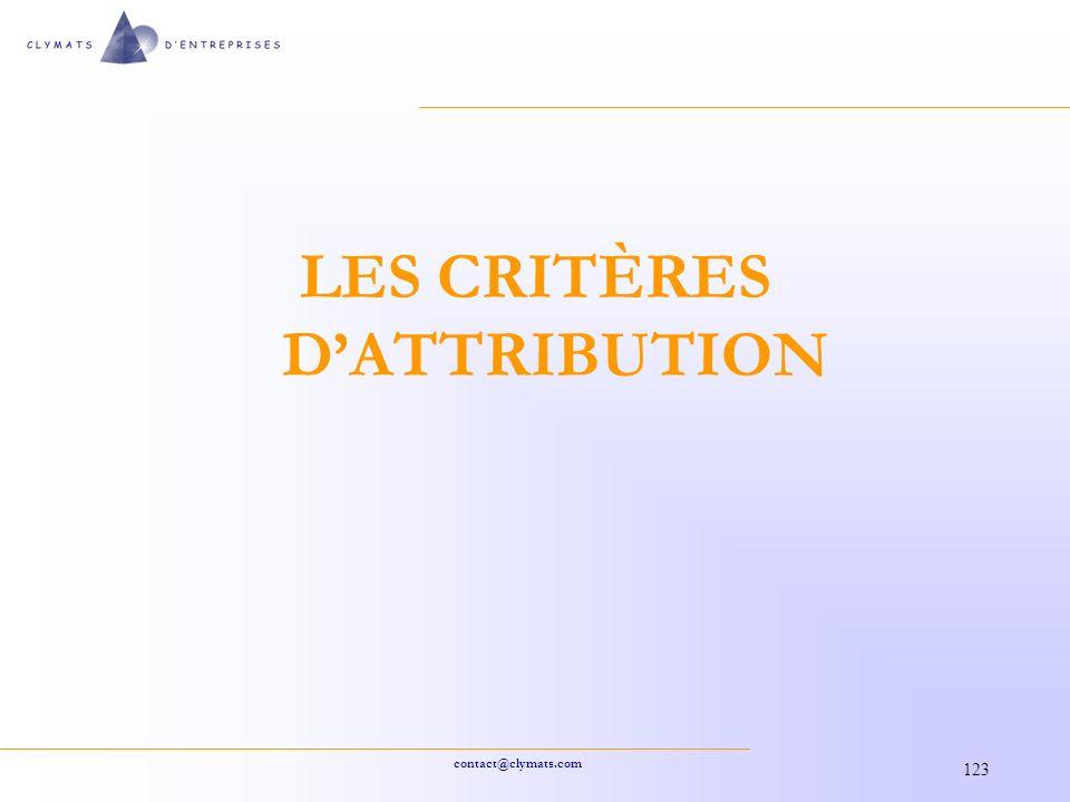 contact@clymats.com 123 LES CRITÈRES DATTRIBUTION