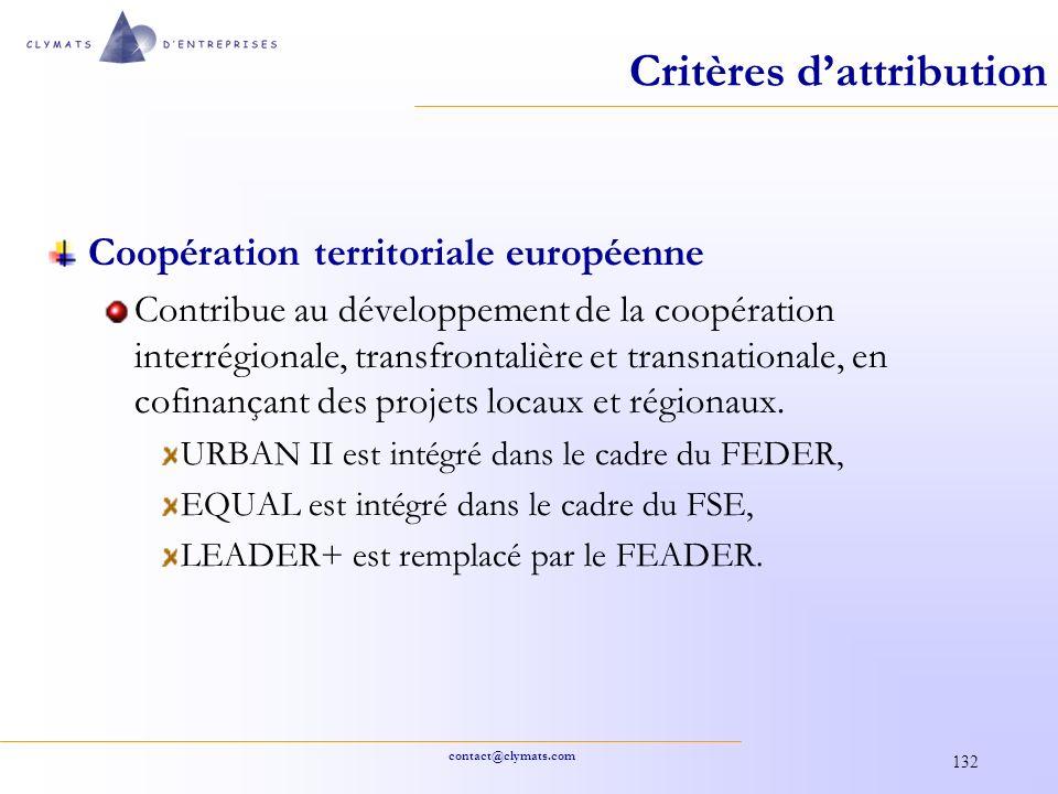 contact@clymats.com 132 Critères dattribution Coopération territoriale européenne Contribue au développement de la coopération interrégionale, transfr