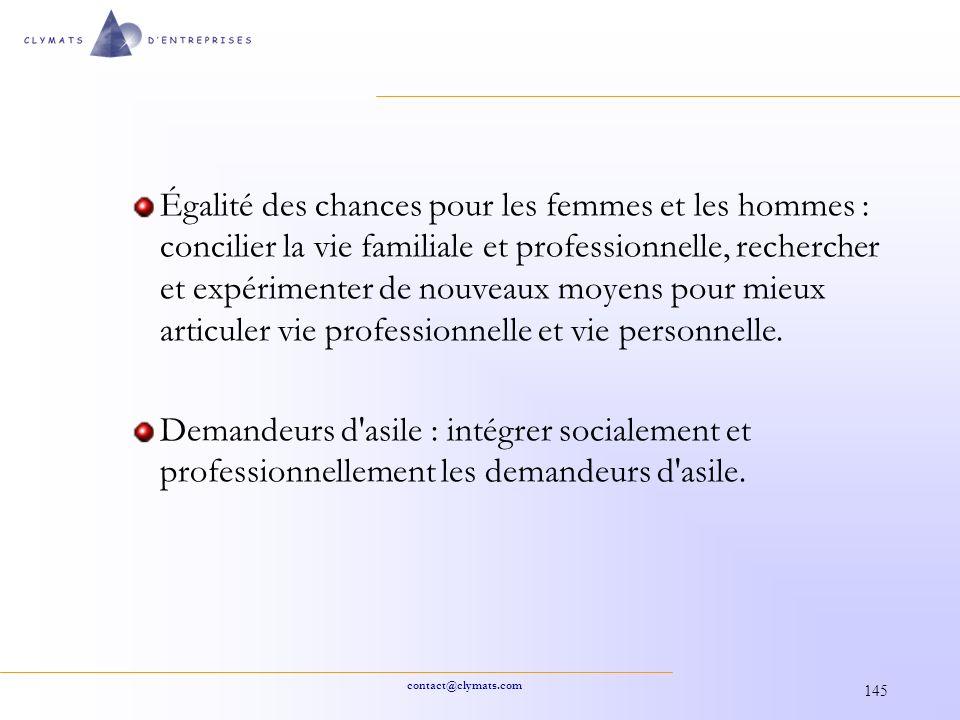 contact@clymats.com 145 Égalité des chances pour les femmes et les hommes : concilier la vie familiale et professionnelle, rechercher et expérimenter