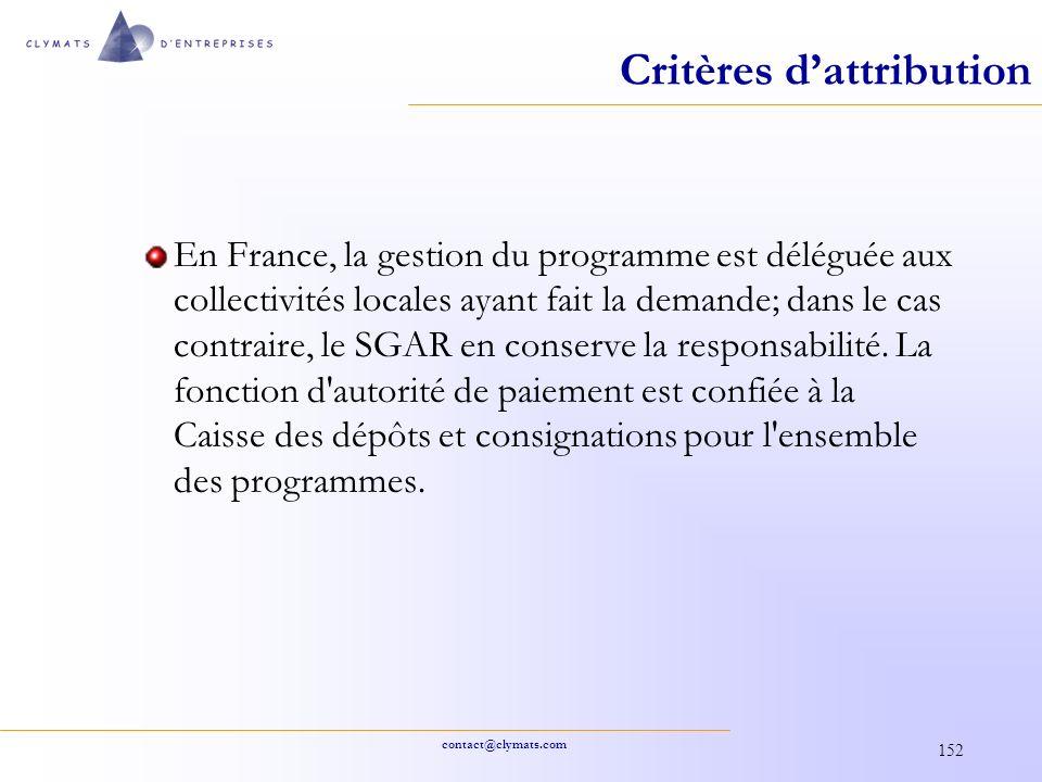 contact@clymats.com 152 Critères dattribution En France, la gestion du programme est déléguée aux collectivités locales ayant fait la demande; dans le