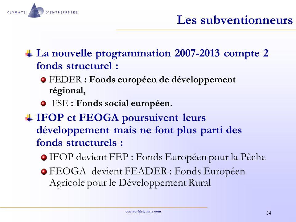 contact@clymats.com 34 Les subventionneurs La nouvelle programmation 2007-2013 compte 2 fonds structurel : FEDER : Fonds européen de développement rég