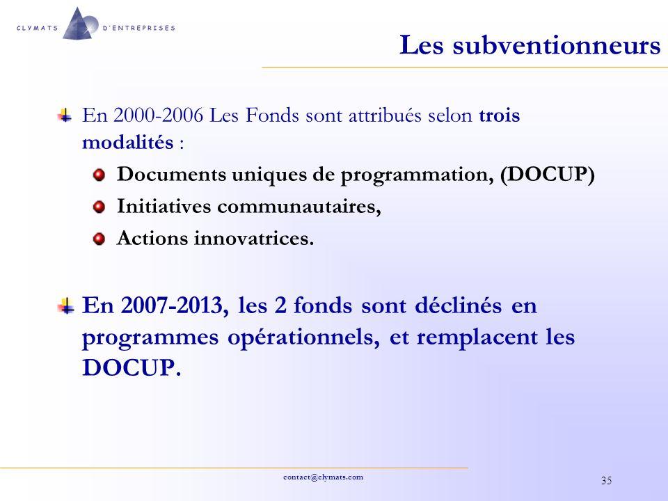 contact@clymats.com 35 Les subventionneurs En 2000-2006 Les Fonds sont attribués selon trois modalités : Documents uniques de programmation, (DOCUP) I