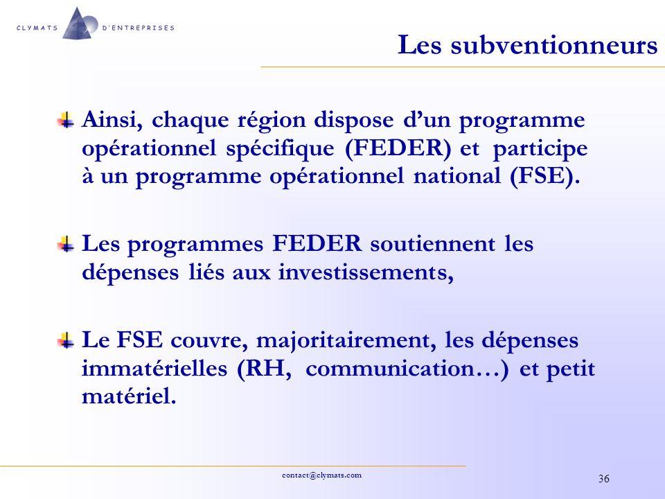 contact@clymats.com 36 Les subventionneurs Ainsi, chaque région dispose dun programme opérationnel spécifique (FEDER) et participe à un programme opér