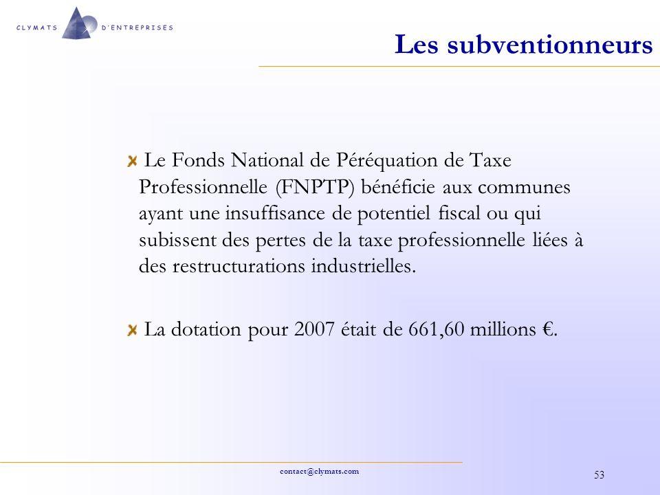 contact@clymats.com 53 Les subventionneurs Le Fonds National de Péréquation de Taxe Professionnelle (FNPTP) bénéficie aux communes ayant une insuffisa