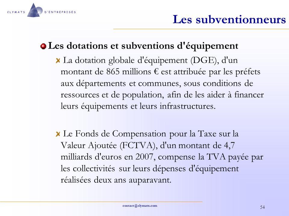 contact@clymats.com 54 Les subventionneurs Les dotations et subventions d'équipement La dotation globale d'équipement (DGE), d'un montant de 865 milli