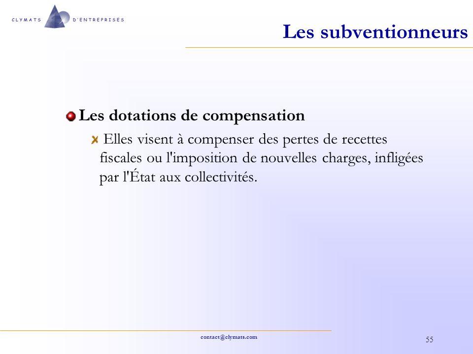 contact@clymats.com 55 Les subventionneurs Les dotations de compensation Elles visent à compenser des pertes de recettes fiscales ou l'imposition de n