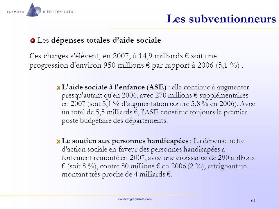 contact@clymats.com 61 Les subventionneurs Les dépenses totales daide sociale Ces charges sélèvent, en 2007, à 14,9 milliards soit une progression d'e