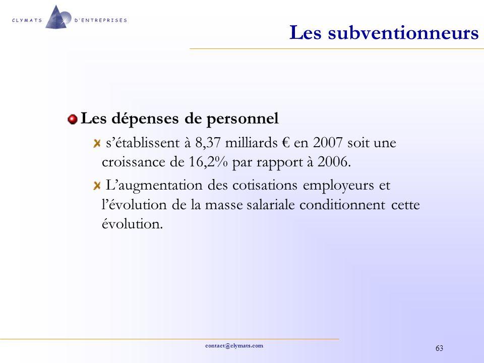 contact@clymats.com 63 Les subventionneurs Les dépenses de personnel sétablissent à 8,37 milliards en 2007 soit une croissance de 16,2% par rapport à