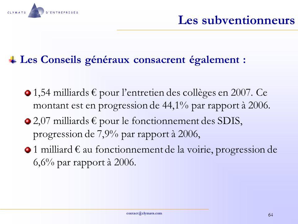contact@clymats.com 64 Les subventionneurs Les Conseils généraux consacrent également : 1,54 milliards pour lentretien des collèges en 2007. Ce montan