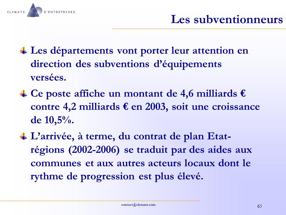 contact@clymats.com 65 Les subventionneurs Les départements vont porter leur attention en direction des subventions déquipements versées. Ce poste aff