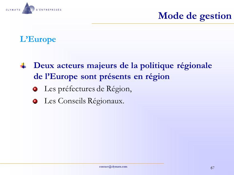 contact@clymats.com 67 Mode de gestion LEurope Deux acteurs majeurs de la politique régionale de lEurope sont présents en région Les préfectures de Ré