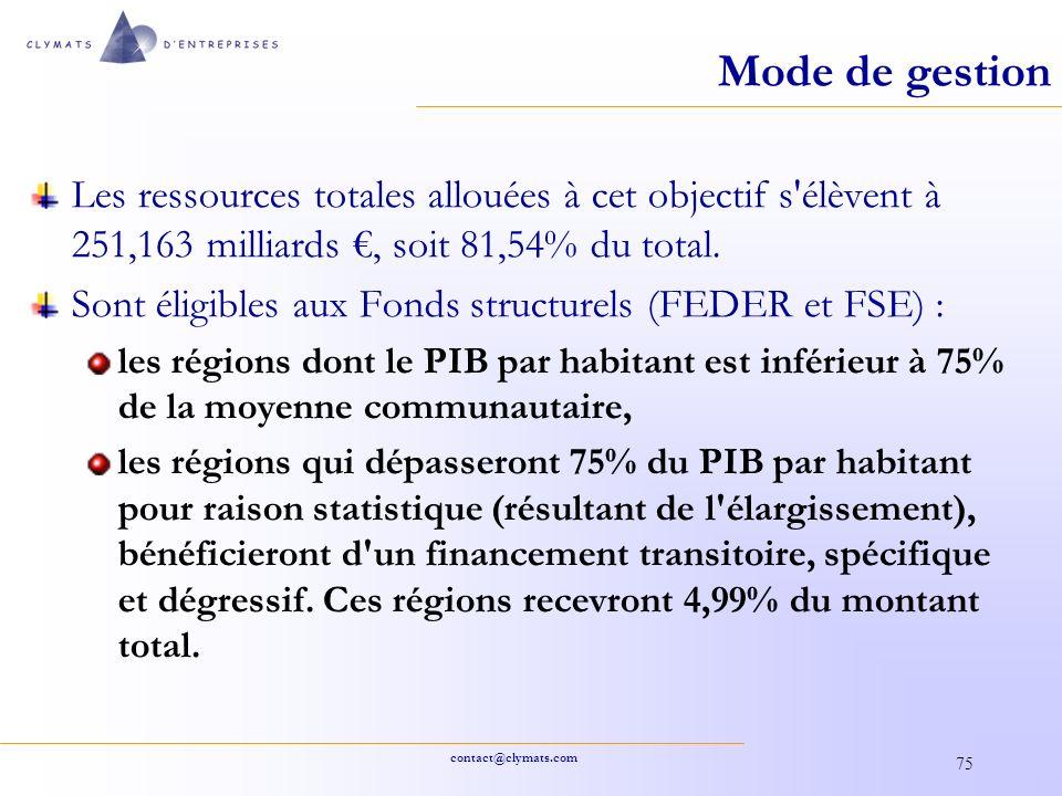 contact@clymats.com 75 Mode de gestion Les ressources totales allouées à cet objectif s'élèvent à 251,163 milliards, soit 81,54% du total. Sont éligib