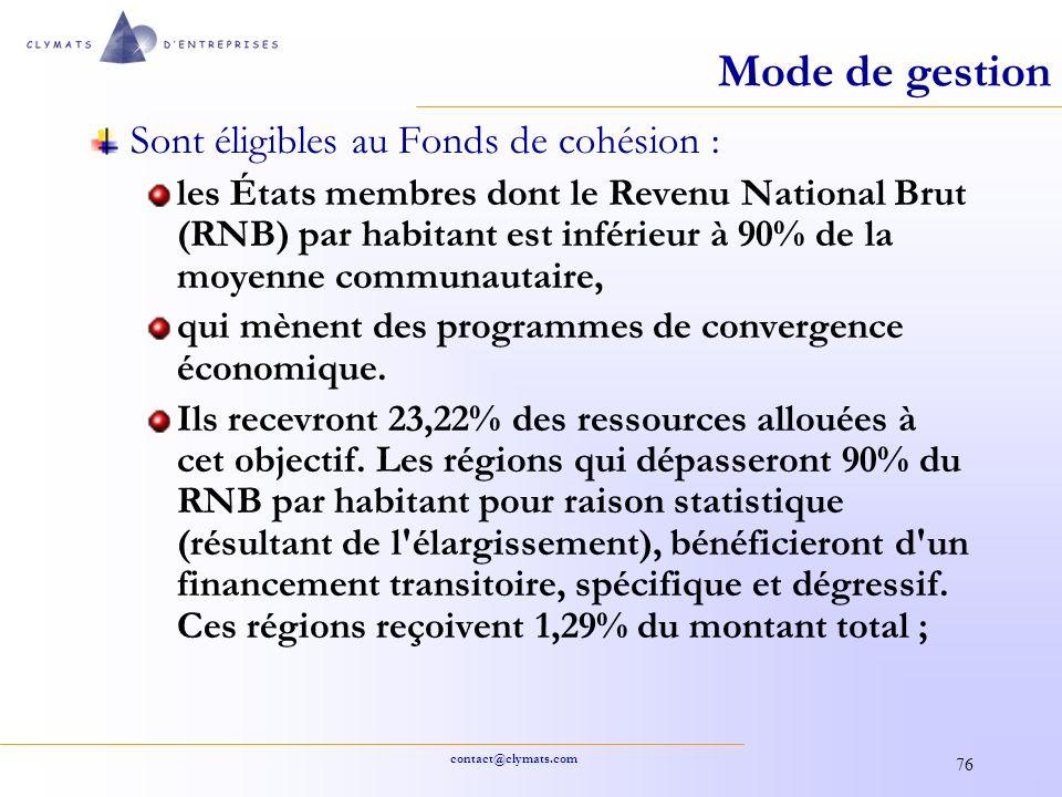 contact@clymats.com 76 Mode de gestion Sont éligibles au Fonds de cohésion : les États membres dont le Revenu National Brut (RNB) par habitant est inf