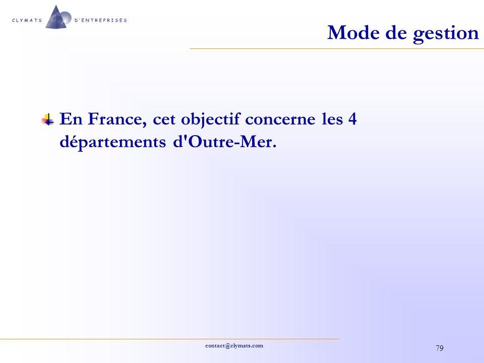 contact@clymats.com 79 Mode de gestion En France, cet objectif concerne les 4 départements d'Outre-Mer.