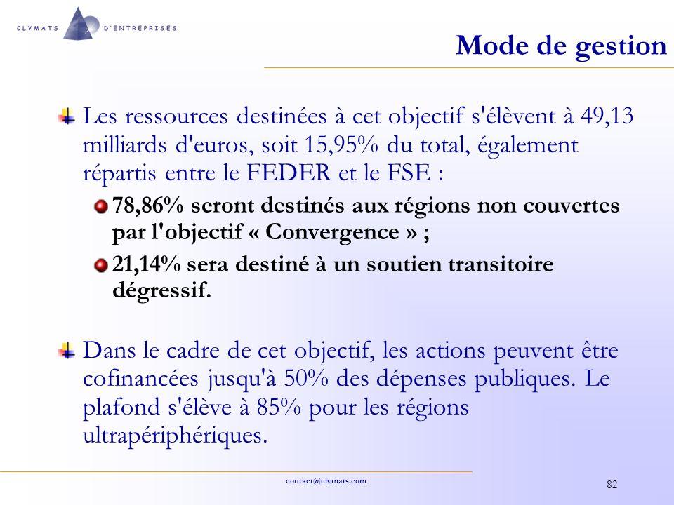contact@clymats.com 82 Mode de gestion Les ressources destinées à cet objectif s'élèvent à 49,13 milliards d'euros, soit 15,95% du total, également ré