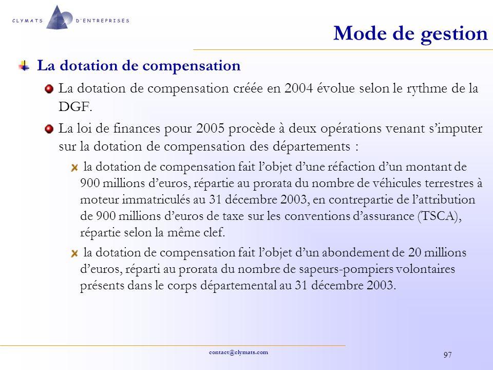 contact@clymats.com 97 Mode de gestion La dotation de compensation La dotation de compensation créée en 2004 évolue selon le rythme de la DGF. La loi