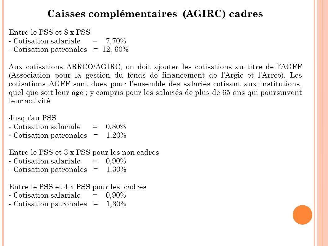 Caisses complémentaires (AGIRC) cadres Entre le PSS et 8 x PSS - Cotisation salariale = 7,70% - Cotisation patronales = 12, 60% Aux cotisations ARRCO/