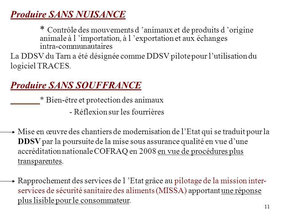 11 Produire SANS NUISANCE * Contrôle des mouvements d animaux et de produits d origine animale à l importation, à l exportation et aux échanges intra-