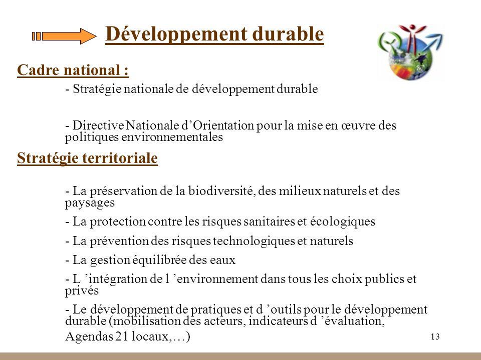 13 Développement durable Stratégie territoriale - La préservation de la biodiversité, des milieux naturels et des paysages - La protection contre les risques sanitaires et écologiques - La prévention des risques technologiques et naturels - La gestion équilibrée des eaux - L intégration de l environnement dans tous les choix publics et privés - Le développement de pratiques et d outils pour le développement durable (mobilisation des acteurs, indicateurs d évaluation, Agendas 21 locaux,…) Cadre national : - Stratégie nationale de développement durable - Directive Nationale dOrientation pour la mise en œuvre des politiques environnementales