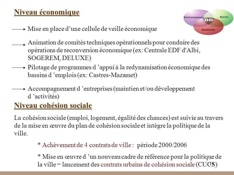 15 Niveau économique Mise en place dune cellule de veille économique Animation de comités techniques opérationnels pour conduire des opérations de reconversion économique (ex: Centrale EDF d Albi, SOGEREM, DELUXE) Pilotage de programmes d appui à la redynamisation économique des bassins d emplois (ex: Castres-Mazamet) Accompagnement d entreprises (maintien et/ou développement d activités) Niveau cohésion sociale La cohésion sociale (emploi, logement, égalité des chances) est suivie au travers de la mise en œuvre du plan de cohésion sociale et intègre la politique de la ville.