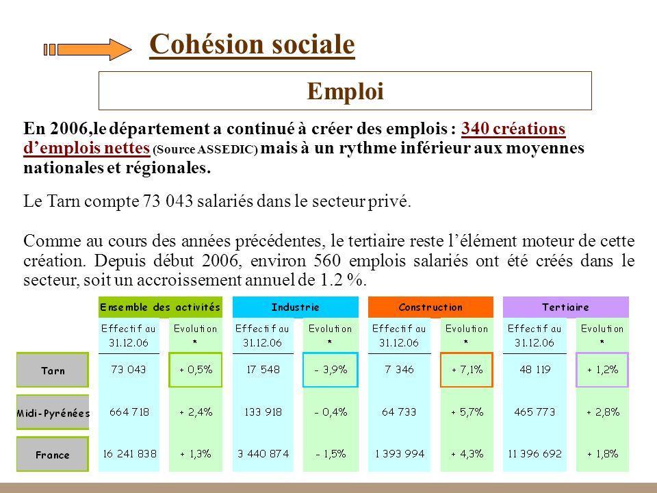 16 Cohésion sociale En 2006,le département a continué à créer des emplois : 340 créations demplois nettes (Source ASSEDIC) mais à un rythme inférieur