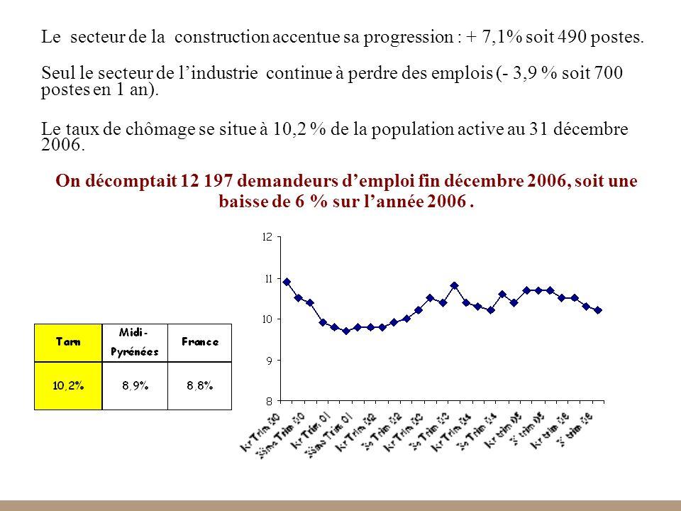17 Le taux de chômage se situe à 10,2 % de la population active au 31 décembre 2006.