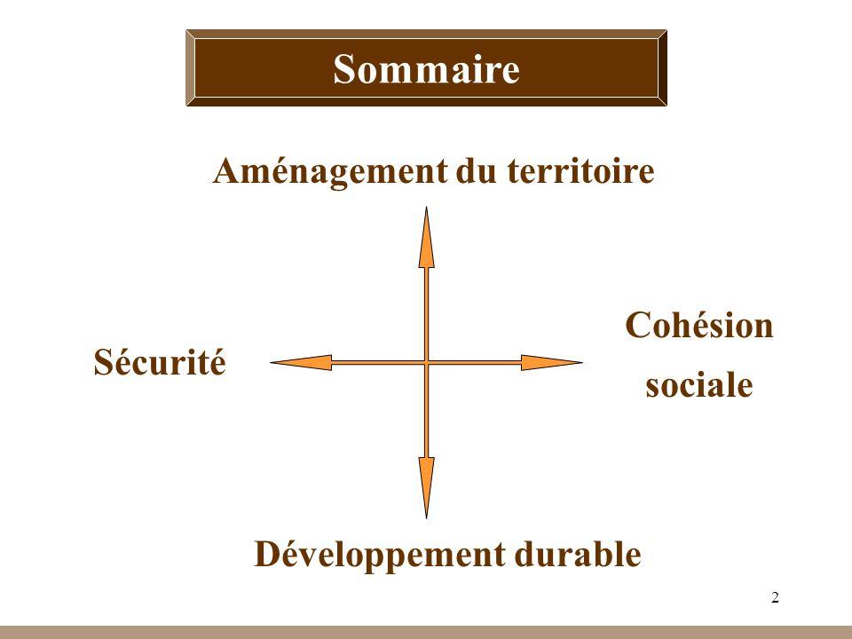 2 Sommaire Cohésion sociale Développement durable Sécurité Aménagement du territoire Sommaire