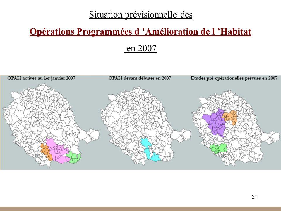 21 Situation prévisionnelle des Opérations Programmées d Amélioration de l Habitat en 2007