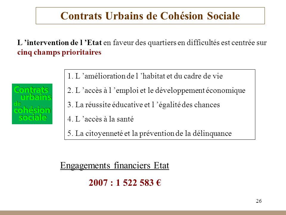 26 Contrats Urbains de Cohésion Sociale L intervention de l Etat en faveur des quartiers en difficultés est centrée sur cinq champs prioritaires 1. L