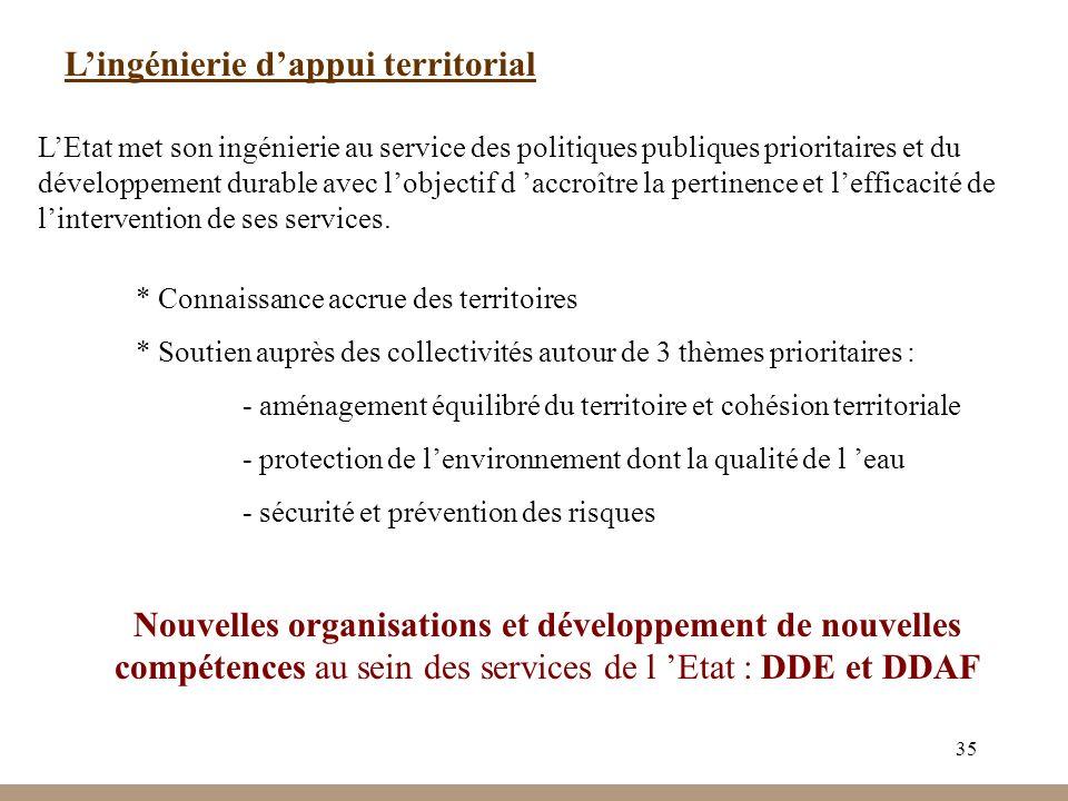 35 Lingénierie dappui territorial LEtat met son ingénierie au service des politiques publiques prioritaires et du développement durable avec lobjectif