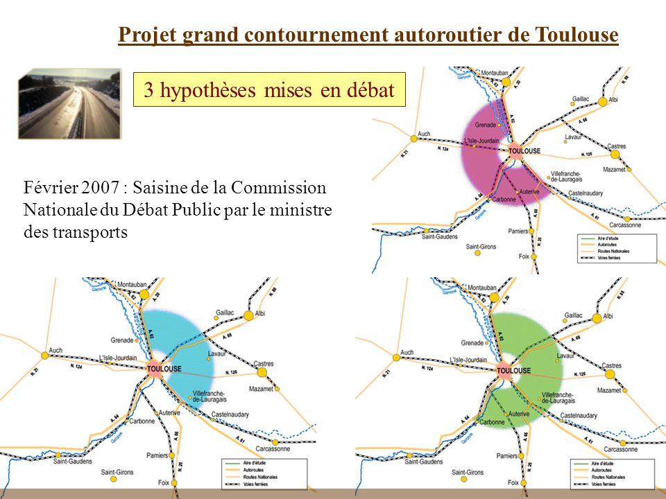 38 Projet grand contournement autoroutier de Toulouse 3 hypothèses mises en débat Février 2007 : Saisine de la Commission Nationale du Débat Public par le ministre des transports