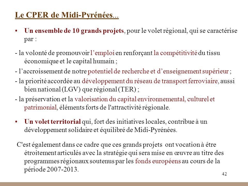 42 Le CPER de Midi-Pyrénées... Un ensemble de 10 grands projets, pour le volet régional, qui se caractérise par : - la volonté de promouvoir lemploi e