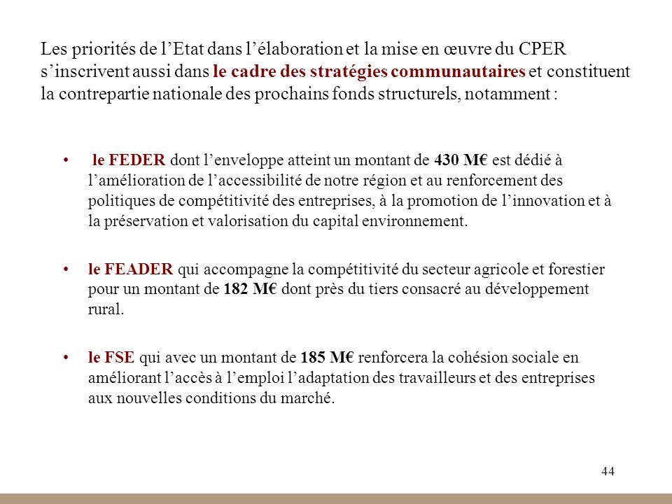 44 Les priorités de lEtat dans lélaboration et la mise en œuvre du CPER sinscrivent aussi dans le cadre des stratégies communautaires et constituent l