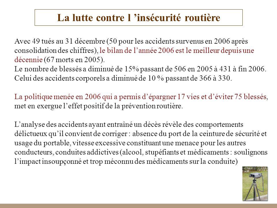 7 La lutte contre l insécurité routière Avec 49 tués au 31 décembre (50 pour les accidents survenus en 2006 après consolidation des chiffres), le bila