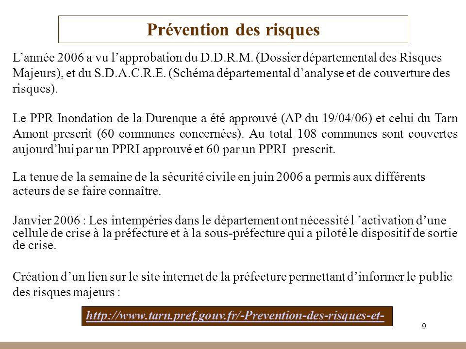 9 Prévention des risques Lannée 2006 a vu lapprobation du D.D.R.M. (Dossier départemental des Risques Majeurs), et du S.D.A.C.R.E. (Schéma département