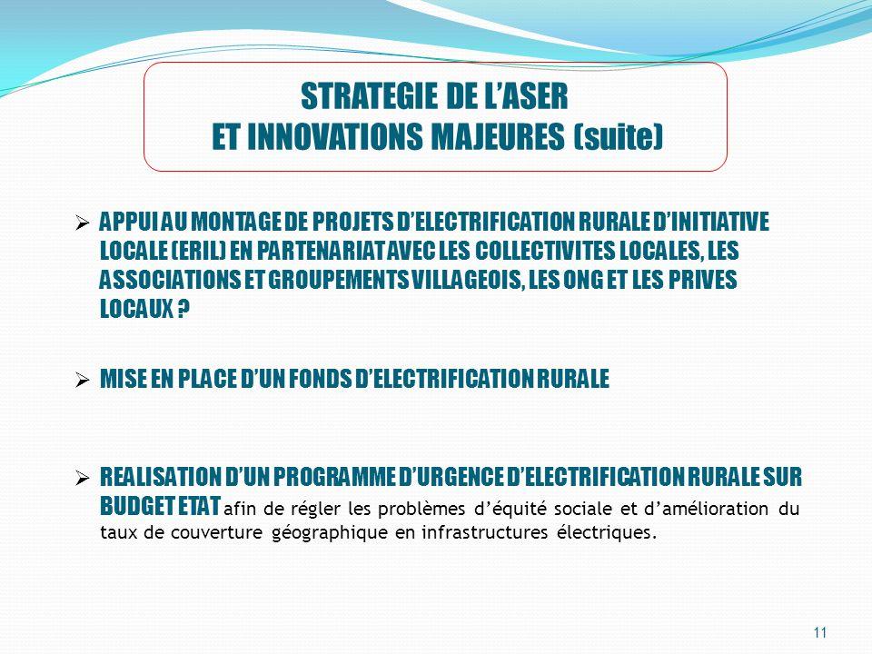 11 STRATEGIE DE LASER ET INNOVATIONS MAJEURES (suite) APPUI AU MONTAGE DE PROJETS DELECTRIFICATION RURALE DINITIATIVE LOCALE (ERIL) EN PARTENARIAT AVE