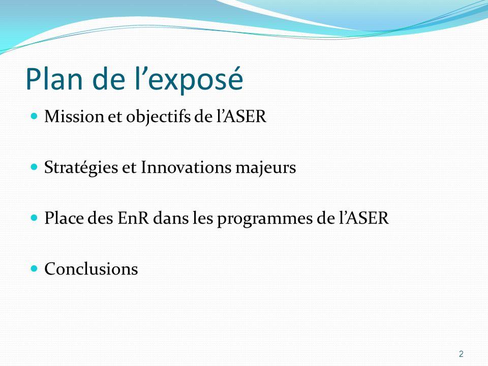Plan de lexposé Mission et objectifs de lASER Stratégies et Innovations majeurs Place des EnR dans les programmes de lASER Conclusions 2