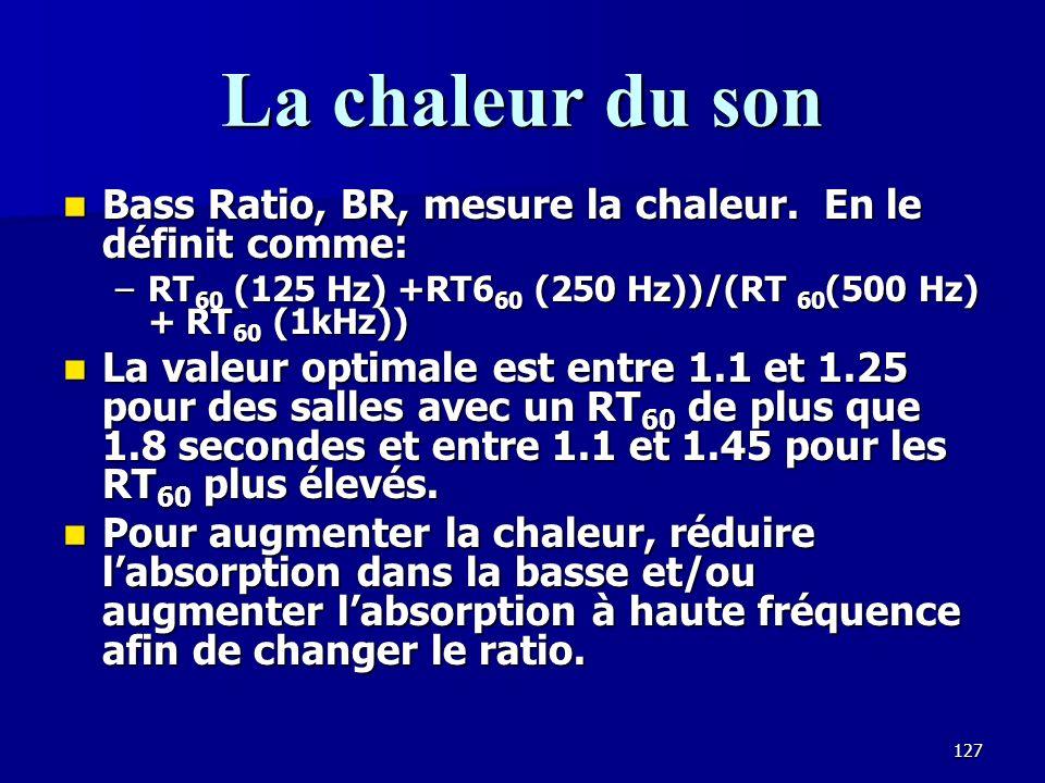 126 Clarté Les réflexions arrivant dans les premières 50-80 msec contribuent à la clarté de la présentation, en augmentant larticulation entre les syllabes.