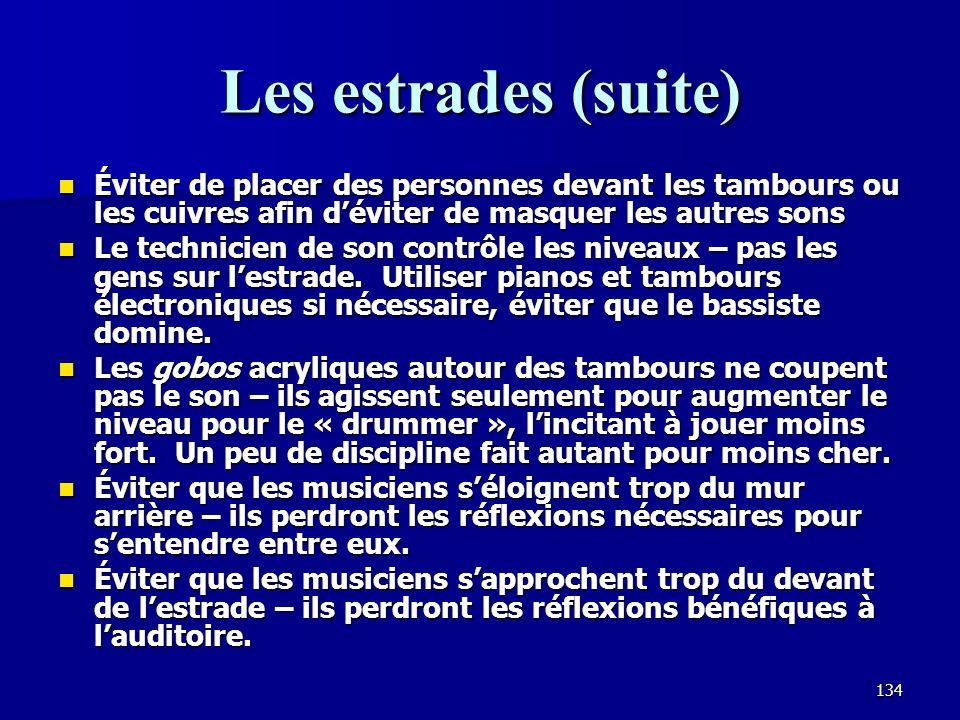 133 Les réflexions sur lestrade Les réflecteurs sont souvent nécessaires si le plafond est haut afin de fournir des premières réflexions aux auditeurs.