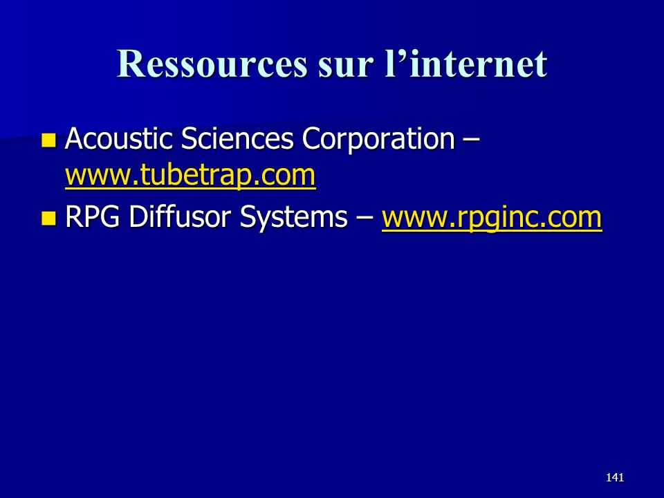 140 Dans vos notes et sur le CD Articles de « Acoustic Sciences Corporation » Articles de « Acoustic Sciences Corporation » Comment mesurer la réverbé