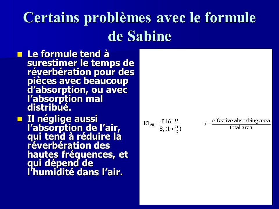 76 Le temps de réverbération Sabine nous a donné léquation à droite, qui détermine la réverbération dune pièce de manière statistique, dépendant de son absorption.