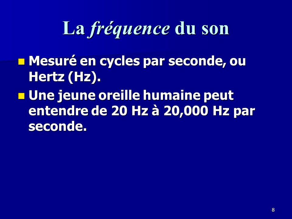 8 La fréquence du son Mesuré en cycles par seconde, ou Hertz (Hz).