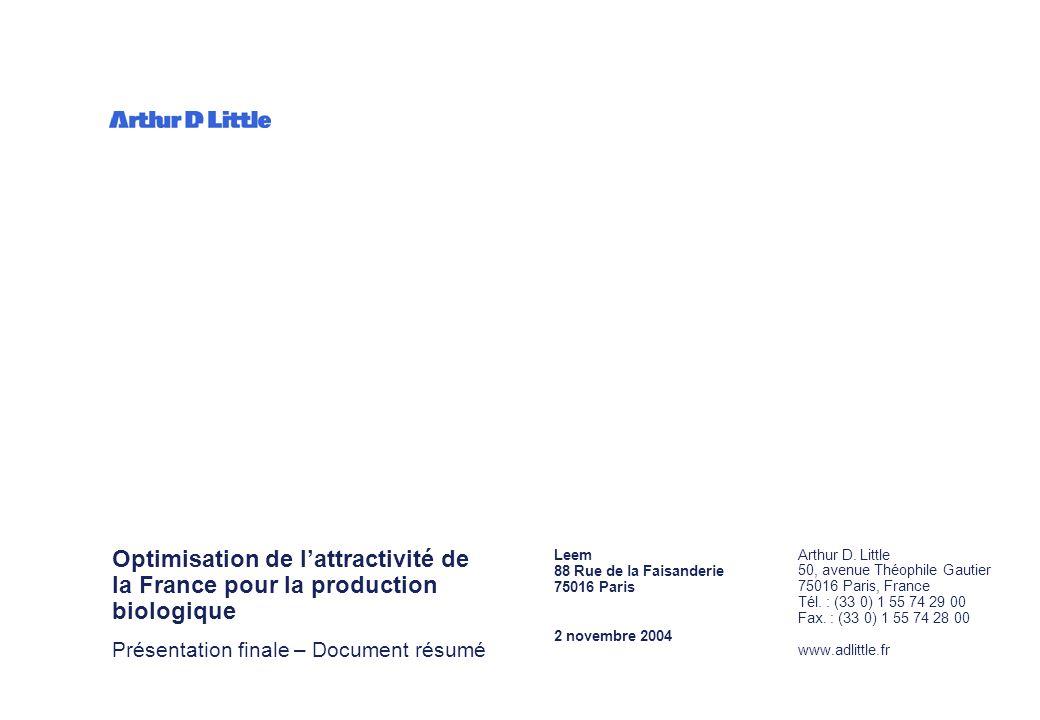 Comité biotechnologies du Leem – 2 novembre 2004 11 Le déploiement dunités de production biologique petite et grande échelle serait source de nombreuses opportunités pour la France Maintenir une balance commerciale excédentaire pour la production de médicaments en France Créer un tissu industriel source dun grand nombre demplois en France Participer à la structuration de la filière industrielle et du tissu des biotechnologies françaises Contribuer à la réalisation des missions de service public des grands projets nationaux et notamment du plan national contre le cancer 1 2 Les enjeux et opportunités pour la France 2 3 4