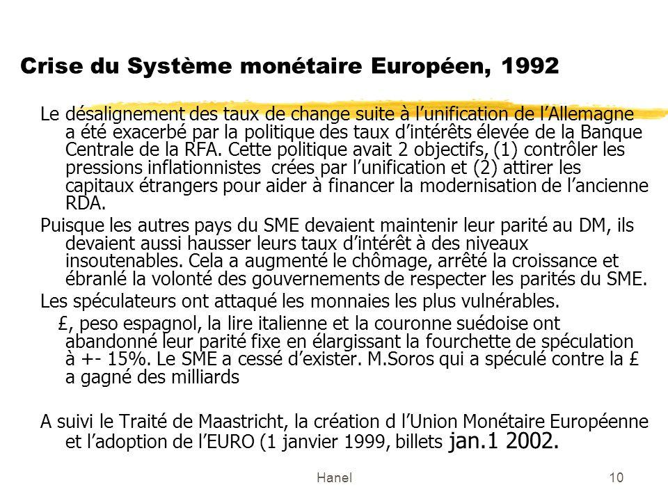 Hanel10 Crise du Système monétaire Européen, 1992 Le désalignement des taux de change suite à lunification de lAllemagne a été exacerbé par la politiq